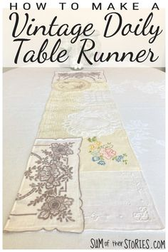 how to make a table runner from vintage doilies Craft Tutorials, Craft Projects, Fabric Crafts, Paper Crafts, Fabric Display, Make A Table, Fabric Scissors, Vintage Handkerchiefs, How To Take Photos