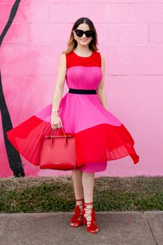 db628567552b2f Jennifer Lake Style Charade in an ASOS red and pink pleated color block  dress