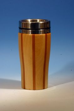 Birch with Cherry Accents Wooden Travel Mug with Stainless Steel Insert and Sliding Sipper Top
