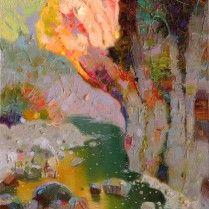 Pedro Roldán - Sombra y luz en el rio.30x16cm