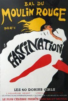 By René Gruau, c 1967, Bal Moulin Rouge Fascination.
