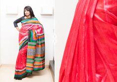 Silk Sarees - Multi hued Raw silk saree with hand screen printed stripes on border and pallu PC 16659 - Main