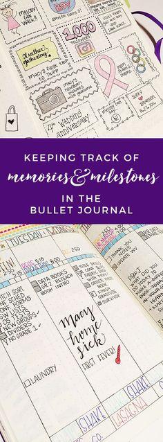 Keeping Track of Memories & Milestones in the Bullet Journal http://productiveandpretty.com/bullet-journal-memories/?utm_campaign=coschedule&utm_source=pinterest&utm_medium=Jen%20%2B%20Liz%20%7C%20Productive%20and%20Pretty&utm_content=Keeping%20Track%20of%20Memories%20and%20Milestones%20in%20the%20Bullet%20Journal