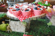 magical fairy party | Dainty triangle sandwiches, woodland fruit bowls, filled with berries ...