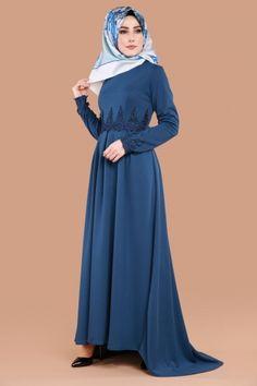 ** YENİ ÜRÜN ** Güpürlü Tesettür Elbise İndigo Ürün kodu: MDP5017 --> 64.90 TL