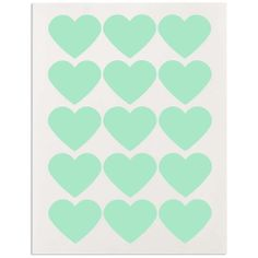 Large Mint Green Heart Stickers www.LayerCakeShop.com