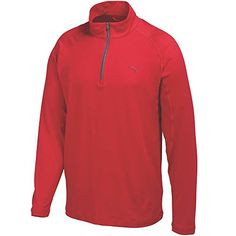 Puma Mens Solid 14 Zip Popover Shirt Tango Red Large ** To view further for this item, visit the image link.