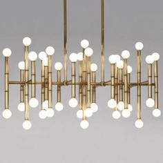 Meurice Rectangular Chandelier by Jonathan Adler in polished nickel for the dinning room.