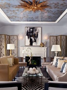 Interior Design Bring Sophisticated Colors Home. simply add pops of color to any room. Unique Home Interior Living Space Layout D. Design Living Room, Eclectic Living Room, Transitional Living Rooms, Living Spaces, Mirror Ceiling, Wallpaper Ceiling, Ceiling Art, Gold Ceiling, Ceiling Ideas