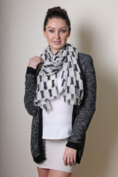 Women's Kitty Cat Fine Wool Fashion Scarf / Shawl / Wrap (Black) // Trendy Fashion Scarves. Unique Holiday Gifts Ideas for Her. Cute Pretty Scarves.