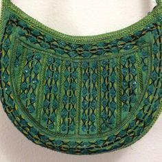 Green with yellow handbag