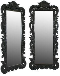French Moulin Noir Rococo Tall Mirror