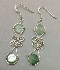 Natural green aventurine earring  wire wrapped  by OritWhiteLight