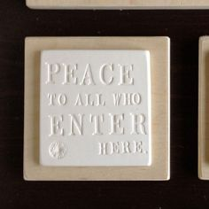 Paloma's Nest: Peace to All Who Enter Here Sign, Ceramic and Wood #MarthaStewartAmericanMade #americanmadeebaysweeps