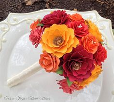 LOVE *** Autumn Colored Paper Flowers