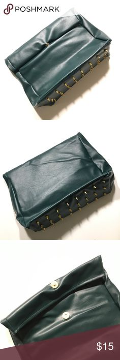 """Olive Green Studded Clutch Not sure what the brand is, but it's very good quality. Feels like leather. Probably faux. The bottom is studded. It measures 11"""" across and 9"""" down when folded. When rolled out/ unfolded, it measures 13"""". Perfect condition. No flaws. New without tags. Still has the tissue paper inside. Bags Clutches & Wristlets"""
