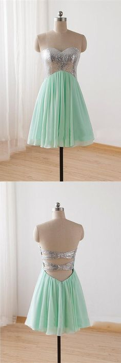 Mint Chiffon Sequin Bodice Homecoming Dress Short Prom Dress Sweetheart Bridesmaid Dress