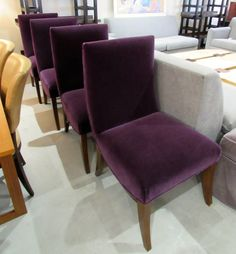 Walnut and mohair dining chairs