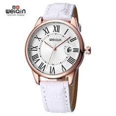WEIQIN 2016 Luxury Fashion Women Quartz Analog Watches PU Leather Strap Roman Number Casual Lady's Wristwatch with Calendar & Watch Box