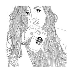 We Heart It found on Polyvore featuring women's fashion, filler, doodle, drawings, outline and scribble
