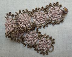 Hand tatting and crystal beads, so very vintage!   www.thefrenchneedle.com