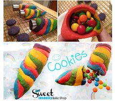 Unicorn Horn Cookies by Sweet Insanity Bake Shop...complete with mini M+Ms inside!