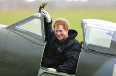 Prince Harry sat in the cockpit of one of the aircrafts while visiting the Boultbee Flight Academy in Goodwood, England.