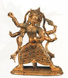 Goddess Mayamayuri (?) gilt copper with turquoise and semi-precious stones height 44 cm Densatil monastery, Tibet ca. 1350-1400