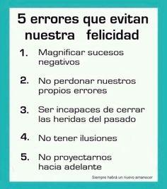5 errores que evitan nuestra felicidad.