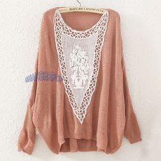 Women Asymmetric Oversize Sweater Jumper Knit Lace Crochet Hollow Batwing Beige #generic #Jumper