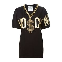 MOSCHINO Chain Trim T-Shirt (715 AUD) ❤ liked on Polyvore featuring tops, t-shirts, moschino, shirts, black, print shirts, tee-shirt, print t shirts, oversized tee and short sleeve t shirts