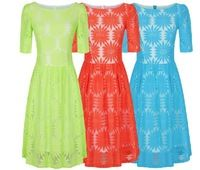 Clearance 2013 Autumn Summer New Fashion Mint Blue Red Flower Lace Dresses for Women Cute Evening Party Dress Plus Size formal