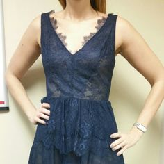 Blue bcbg dress Gently worn. Length is 34 inches, waist is 30 inches, bust 36 inches. I'm 5 '11 so it's long enough for someone tall. BCBGMaxAzria Dresses Midi