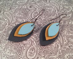 Leather Petal Earrings in Aqua, Tan and Navy   handmade by jennamahshie, $18.00 http://www.copperandteal.com
