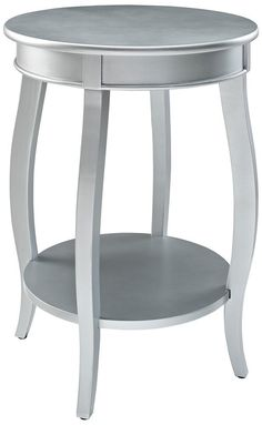 Round Silver End Table