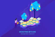 Investing Bitcoin - Insometric Vector Illustration Isometric Design, Vector Graphics, Vector Design, Mobile App, Investing, Banner, Concept, Templates, Illustration