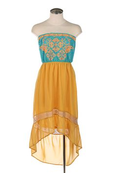 Strapless Turquoise High-Low Dress with lace embroidery