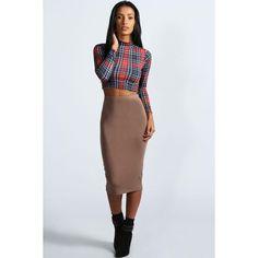 Boohoo Basics Mindy Midi Skirt ($10) ❤ liked on Polyvore featuring skirts, mocha, maxi pencil skirt, tie dye maxi skirt, high-waisted maxi skirt, flared midi skirt and midi skater skirt