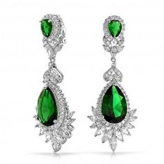 Bling Jewelry Emerald Color CZ Gatsby Inspired Estate Dangle Clip On Earrings