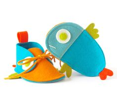 Guppies baby shoes - turquoise & orange tropical fish-like newborn boy / girl baby booties, kids slippers, unisex fun shower gift crib shoes. $44.00, via Etsy.