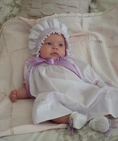 Smocked daygown and bonnet