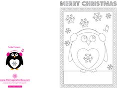 The Imagination Box, A5 Funky Penguin Christmas card to colour in,  free download