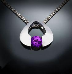 amethyst necklace, amethyst pendant, February birthstone, purple gemstone, Argentium silver necklace, eco-friendly, tension set - 3423