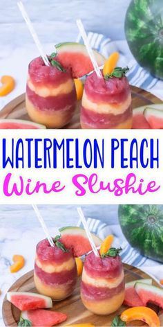 Refreshing and delicious watermelon peach wine slushie is just a few steps away. Get ready to blend up this frozen alcoholic drink recipe. Make this super yummy… Wine Slushie Recipe, Wine Slushies, Red Wine, White Wine, Merlot Wine, Margarita Bebidas, Liquor Drinks, Drink Bar, Beverage