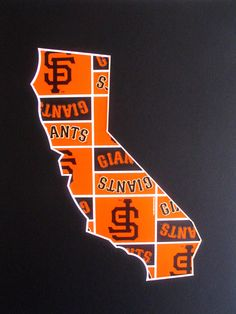 San Francisco Giants Wall Art-California State Map Silhouette-11x14-Go Giants. $18.00, via Etsy.