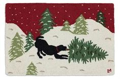 Beautiful Handmade Decorative Design Rug By Chandler 4 Corners Hand Hooked Three Bears in Birch Woods Rug 2x4-100/% Wool