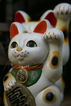They invite good fortune with their paw. Maneki Neko, Neko Cat, Japanese New Year, Japanese Cat, Japanese Style, Japan For Kids, Japanese Bobtail, Shibuya Tokyo, Skull Art