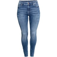 H&M+ Jeans ($75) ❤ liked on Polyvore featuring jeans, pants, denim blue, plus size, plus size stretch jeans, h&m, blue jeans, 5 pocket jeans and stretch jeans