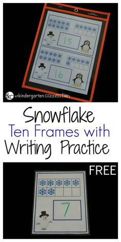 This winter themed snowflake ten frame is a great way to provide math and writing practice at the same time. What a fun winter math center for kids!