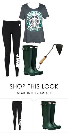 """""""Saturday"""" by mountain-girl-lynn ❤ liked on Polyvore featuring NIKE, Hunter and Frontgate"""